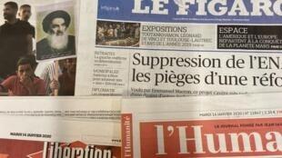 Primeiras páginas dos diários franceses de 14 de Janeiro de 2020.