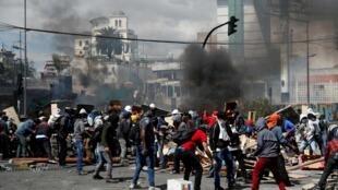 Des manifestations violentes se sont une nouvelles fois déroulées à Quito le 12 octobre 2019.