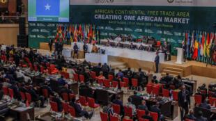 Mkutano wa viongozi wa Afrika walipokutana hivi karibuni Kigali, Rwanda na kutia saini mkataba wa biashara huria kwa bara hilo.
