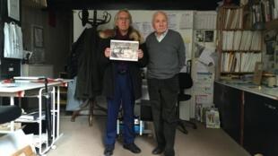 O historiador Georges Viaud e o fotógrafo André Morain, o actual morador de um antigo atelier de Amadeo de Souza-Cardoso.