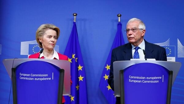 1月8日就中东地区冲突发言的冯德莱恩与博洛尔