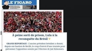 Destaque na manchete do jornal Le Figaro desta terça-feira para o discurso do ex-presidente Lula em Recife visando as eleições de 2022
