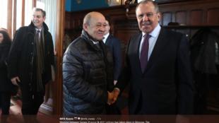 Встреча Жан-Ива Ле Дриана и Сергея Лаврова в Москве 27 февраля 2018
