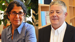 فریبا عادلخواه و رولان مارشال، دو پژوهشگری که در زندان اوین در حبس به سر میبرند.
