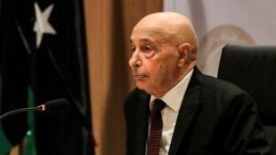 Le chef du Parlement libyen Aguila Saleh, ici à Benghazi le 13 avril 2019.