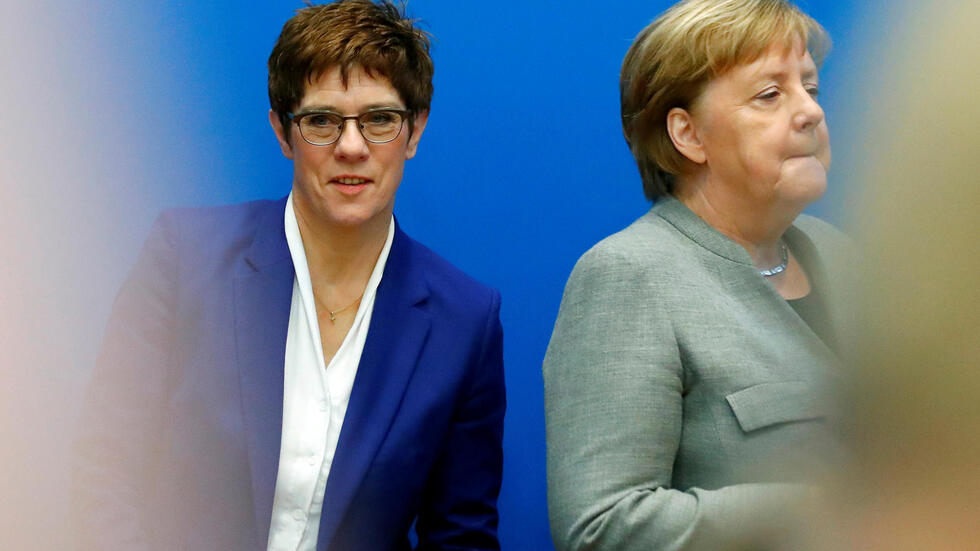 CDU board meeting at the party's headquarters in Berlin Outgoing leader of the Christian Democratic Union (CDU) Annegret Kramp-Karrenbauer and Germany's Chancellor Angela Merkel arrive for a board meeting at the party's headquarters in Berlin, Germany February 10, 2020. REUTERS/Hannibal Hanschke