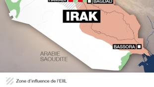 Vùng gạch chéo thuộc tầm ảnh hưởng của Tổ chức thánh chiến Nhà nước Hồi giáo tại Irak và Trung Đông.