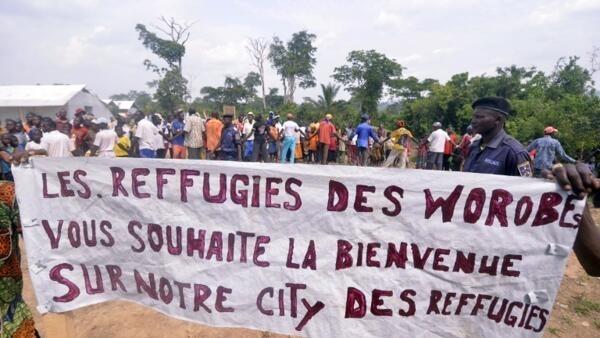 Dans le camp Worobe lors de la visite du Haut Commissaire des Nations unies pour les réfugiés, Antonio Guterres, le 12 avril 2013.