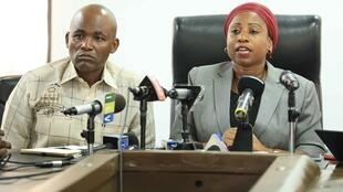 Tanzanian Health Minister Ummy Mwalimu speaking about a Covid-19 case at a press conference on 16 March, 2020
