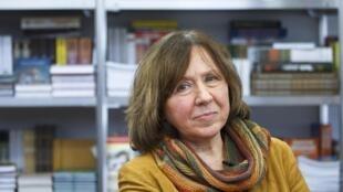 Svetlana Alexievitch tại Minsk. Ảnh ngày 08/10/2015