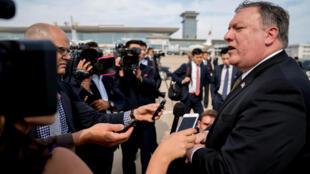 Ngoại trưởng Mỹ Mike Pompeo trả lời báo chí sau khi gặp Kim Yong Chol, phó chủ tịch đảng Lao Động Triều Tiên, 07/07/2018.