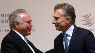 O presidente Michel Temer em Buenos Aires neste domingo (10) para participar da reunião entre Mercosul e União Europeia.