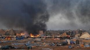 Tents burning after the Moroccan raid