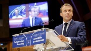 Президент Эмманюэль Макрон на сессии ПАСЕ в Страсбурге 1 октября 2019