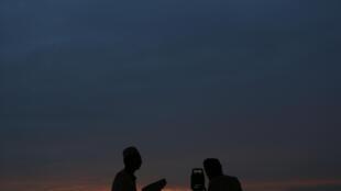 Islam religious observe the new moon of Ramadan