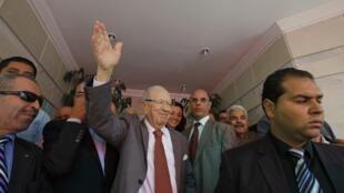 Ex-ministro de Ben Ali e líder do Nida Tunis, Beji Caid Essebsi comemora vitória nas legislativas