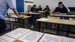 Clase en un liceo profesional de Vaulx-en-Velin, cerca de Lyon.