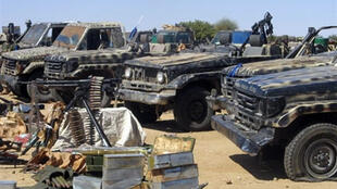 General Mahamat Nouri, arrested in France on Monday, commanded rebel group UFDD, whose vehicles and arms are shown by the Chadian army in an image dated 27 November 2007.