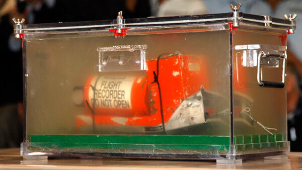 One of the flight recorders of Air France AF447 Rio-Paris flight at Le Bourget airport