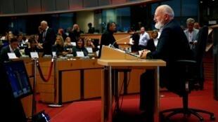 Le commissaire désigné en charge du «Green deal», c'est-à-dire la transition écologique, Frans Timmermans, lors de son audition devant le Parlement européen à Bruxelles, le 8 octobre 2019.
