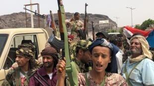 Apoiantes dos separatistas do Iémen do Sul em Khor Maksar, na cidade portuária  de Aden.10 de Agosto de 2019