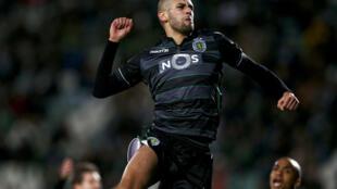 Islam Slimani, avançado argelino do Sporting, marcou dois golos frente ao Vitória de Setúbal.