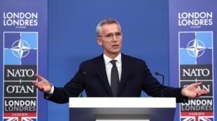 Le secrétaire général Jens Stoltenberg lors de la conférence de presse finale du sommet de l'Otan.