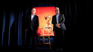 Cannes Film Festival President Pierre Lescure (L) and director Thierry Frémaux (R) presented the 72nd Cannes Festival selection in Paris