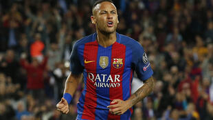 Barcelona's Neymar celebrates scoring their fourth goal