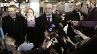 Herman Nackaerts, head of a delegation of the IAEA speaks to media before departing for Iran, 15 January, 2013