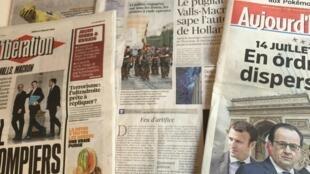 Primeiras páginas dos diários franceses 14/07/2016