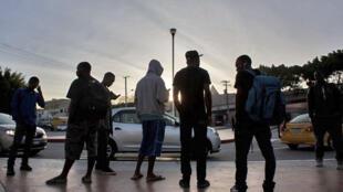 Migrantes en Tijuana, México.