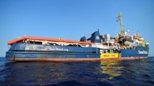 O navio Sea-Watch 3 continua bloqueado a uma milha do porto de Lampedusa, Itália. 27/06/2019.