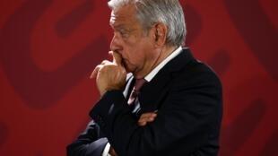 Le président du Mexique, Andres Manuel Lopez Obrador, en conférence de presse à Mexico, le 15 avril 2019.