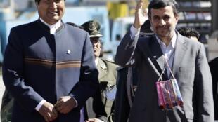 El presidente boliviano Evo Morales y el presidente iraní Mahmud Ahmadinejad, este 19 de junio de 2012.