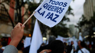 """A supporter rallying for the nation's new peace agreement with Farc holds a banner that reads """"We all want peace"""" during a march in Bogota on 15 November, 2016."""