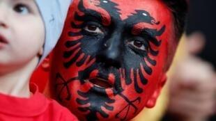 Albanian fan at the beginning of the match France-Albania, Stade de France, Saint-Denis, 7 September 2019