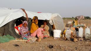 Des déplacés yéménites dans la région d'Hodeida, le 22 février 2017.