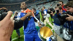 L'Ivoirien Didier Drogba, lors de la victoire de Chelsea, en finale de la Ligue des champions 2012.