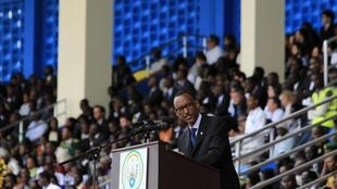 Rwandan President Paul Kagame speaks at this week's commemoration ceremony in Kigali's Amohoro stadium