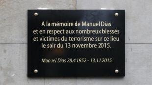 Placa em memória de Manuel Dias, inaugurada a 13 de Novembro de 2016.