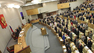Des parlementaires russes en session plenière à la Douma, le Parlement.