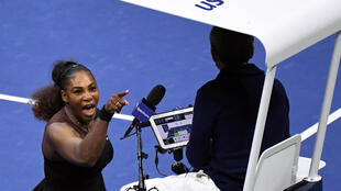 Serena Williams has words with umpire Carlos Ramos at the US Open