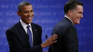 Barack Obama and Mitt Romney at the end of the first presidential debate in Denver, 3 October, 2012