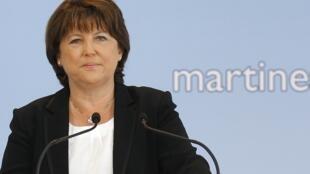 A dirigente do Partido Socialista francês, Martine Aubry, lançou sua candidatura nesta terça-feira, em Lille.