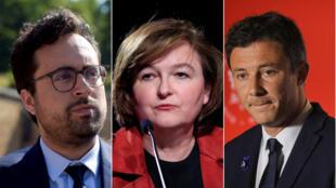 Từ trái sang phải: ông Mounir Mahjoubi, bà Nathalie Loiseau và ông Benjamin Griveaux (Ảnh ghép của RFI)