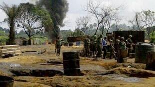 An illegal oil refinery in Nigeria