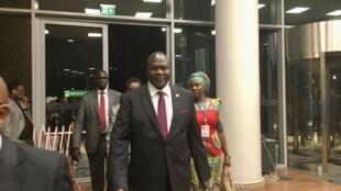 L'ex-rebelle sud-soudanais Riek Machar au siège de l'Union africaine (Addis-Abeba, Éthiopie), le 8 février 2020.