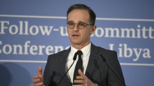 Le ministre allemand des Affaires étrangères Heiko Maas lors d'une conférence de presse après la réunoin du comité de suivi sur la Libye, à Munich, le 16 février 2020.