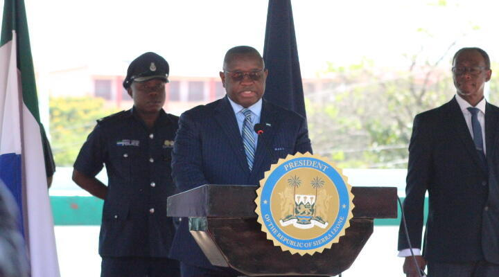 President Maada Bio flanked by the Minister of Health Prof. Alpha Wurie addressing the press conference on the lawn of State House, Freetown, Sierra Leone, Tuesday 31st march 2020